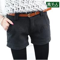 特价秋季显瘦毛呢短裤常规外穿打底阔腿冬天加厚高腰休闲裤女版靴