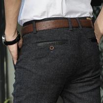 秋款男士青年商务男裤修身直筒男式裤子秋季磨毛休闲裤男长裤免烫