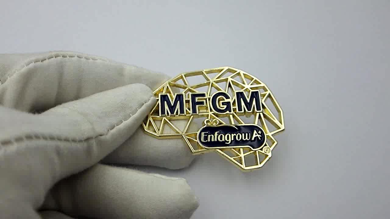 Logo personnalisé en métal papillon/bouton en métal épinglette avec logo personnalisé de Jinzi metal Co.