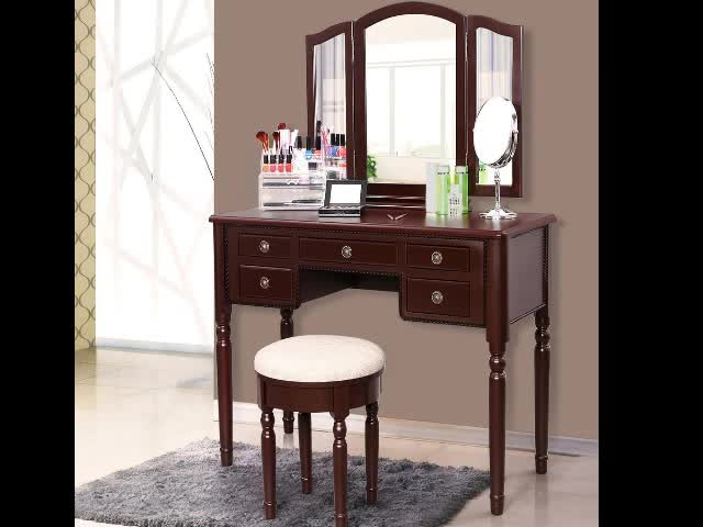 wooden wardrobe makeup vanity mirrored dressing table with drawer dresser