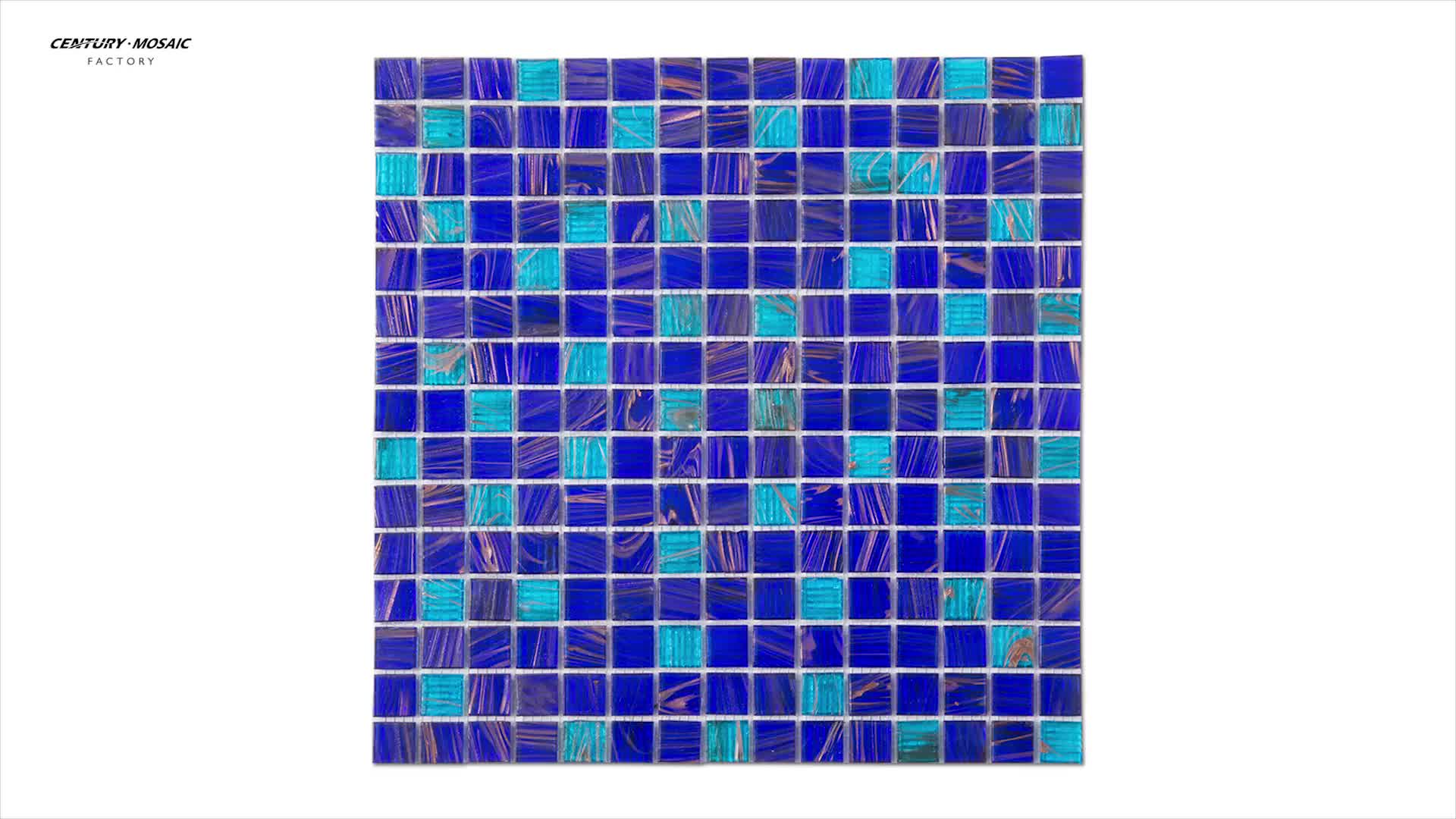 Cheap Golden Line Blue Square Glass Swimming Pool Mosaic Tile - Buy ...