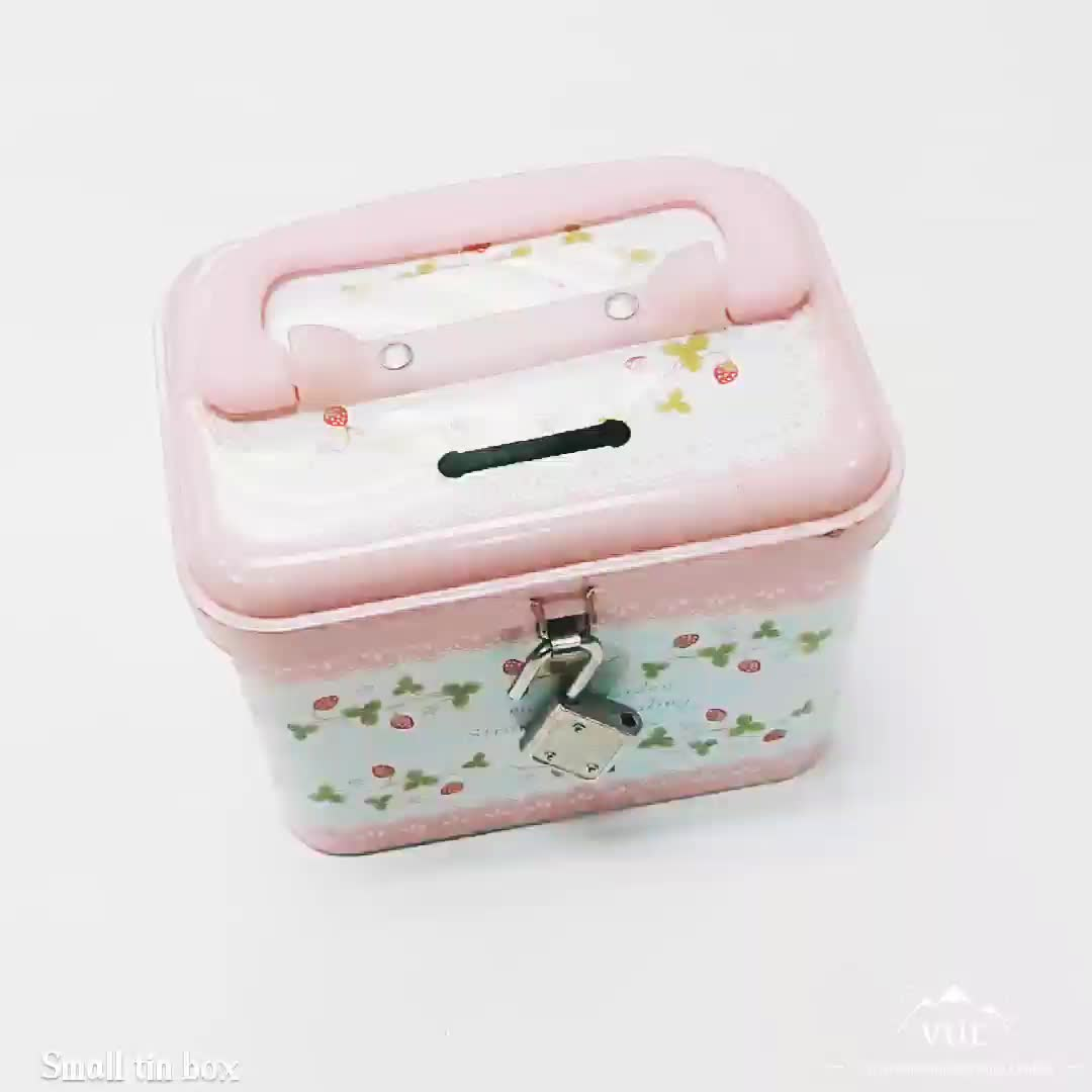 Customized tin money box with handle and lock