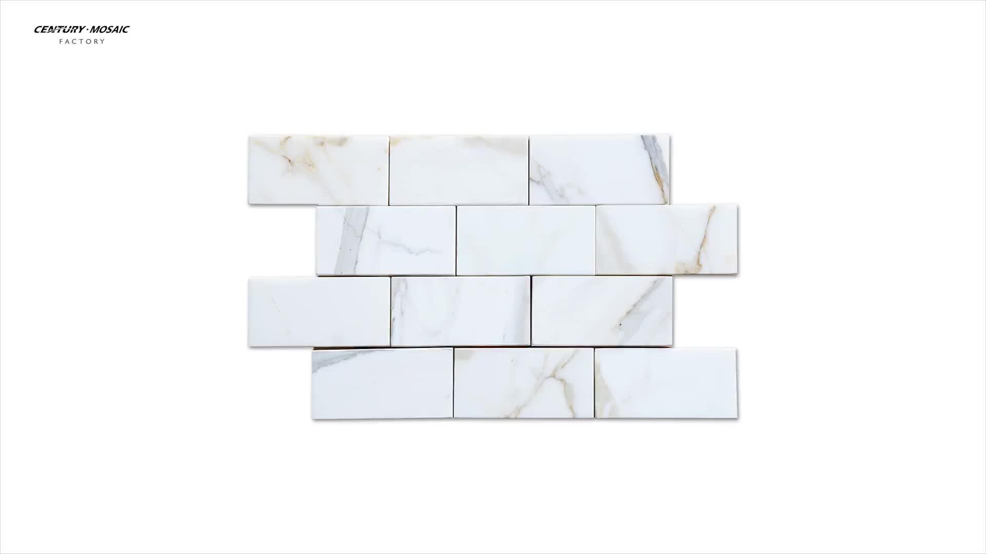 Polish White Brick Natural Marble Calacatta Gold Subway Tile