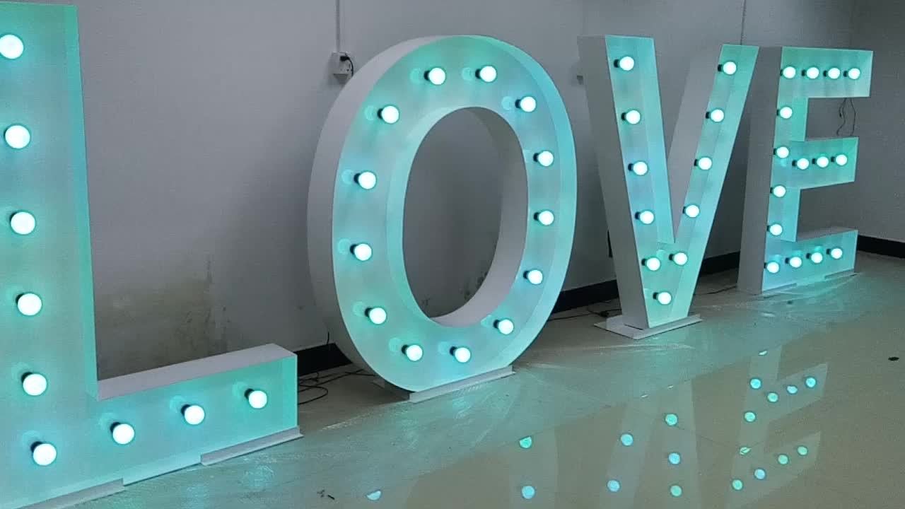 customized size party weddings events decoration free standing led light bulb marquee led giant letters