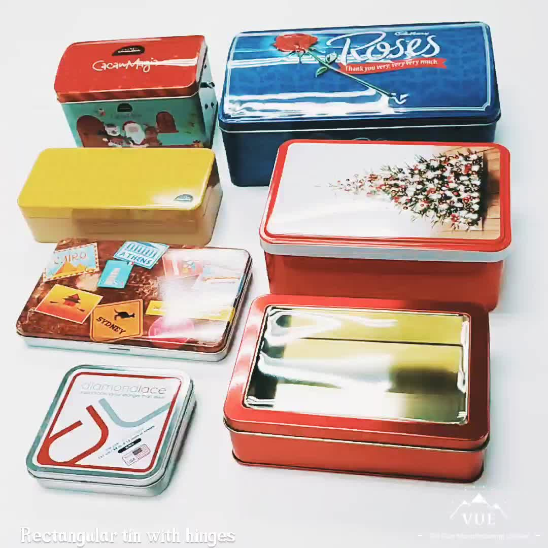 Promotional rectangular tin box with PET window for biscuit packaging
