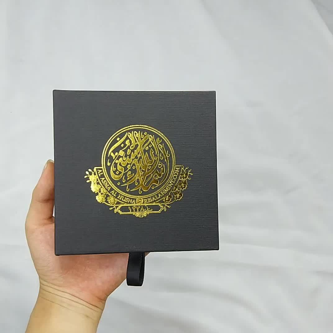 Роскошные логотип горячего тиснения черный коробка подарочная упаковка