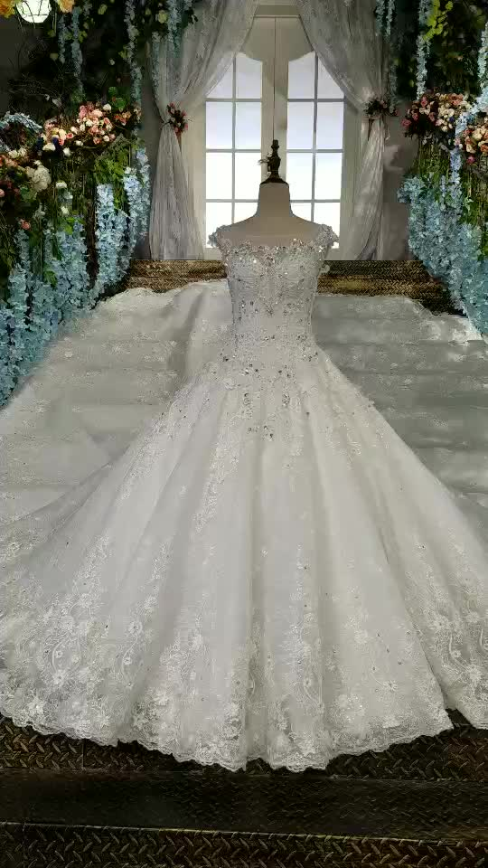 Ls00158 White Bead Appliques Description Of Wedding Dress O Neck ...