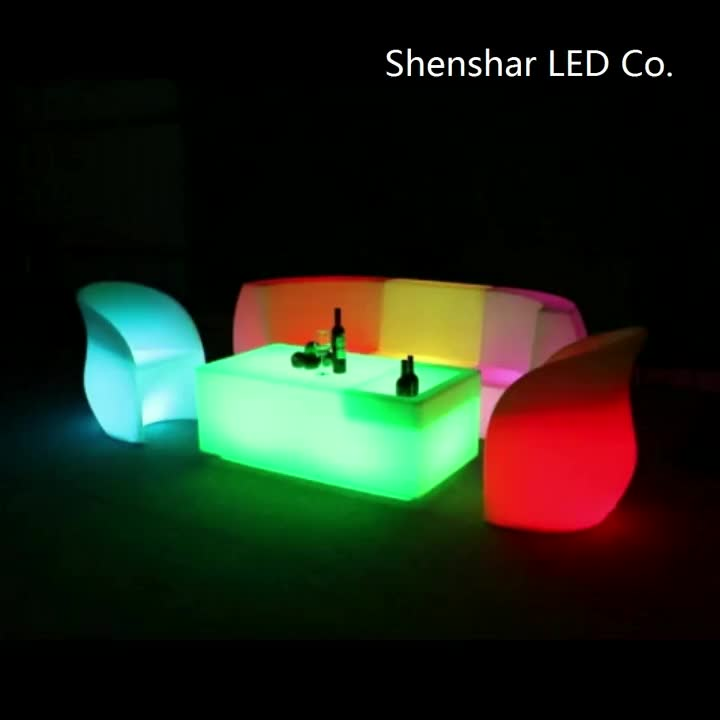 Indoor and Outdoor Use Apple Chair LED Furniture PE Plastic End Table with Stool Luminous Cube