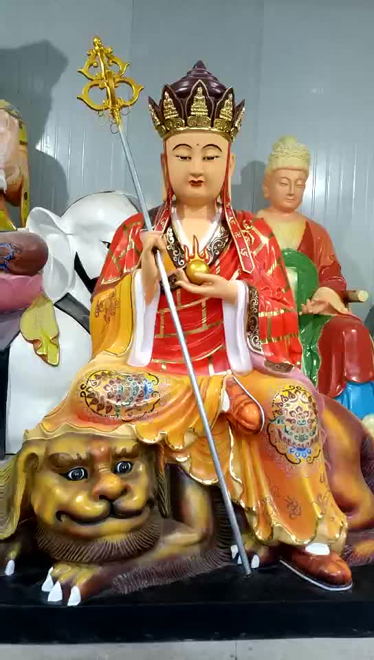 High Quality Painting Fiberglass Standing Buddha Statues For Temple Decoration