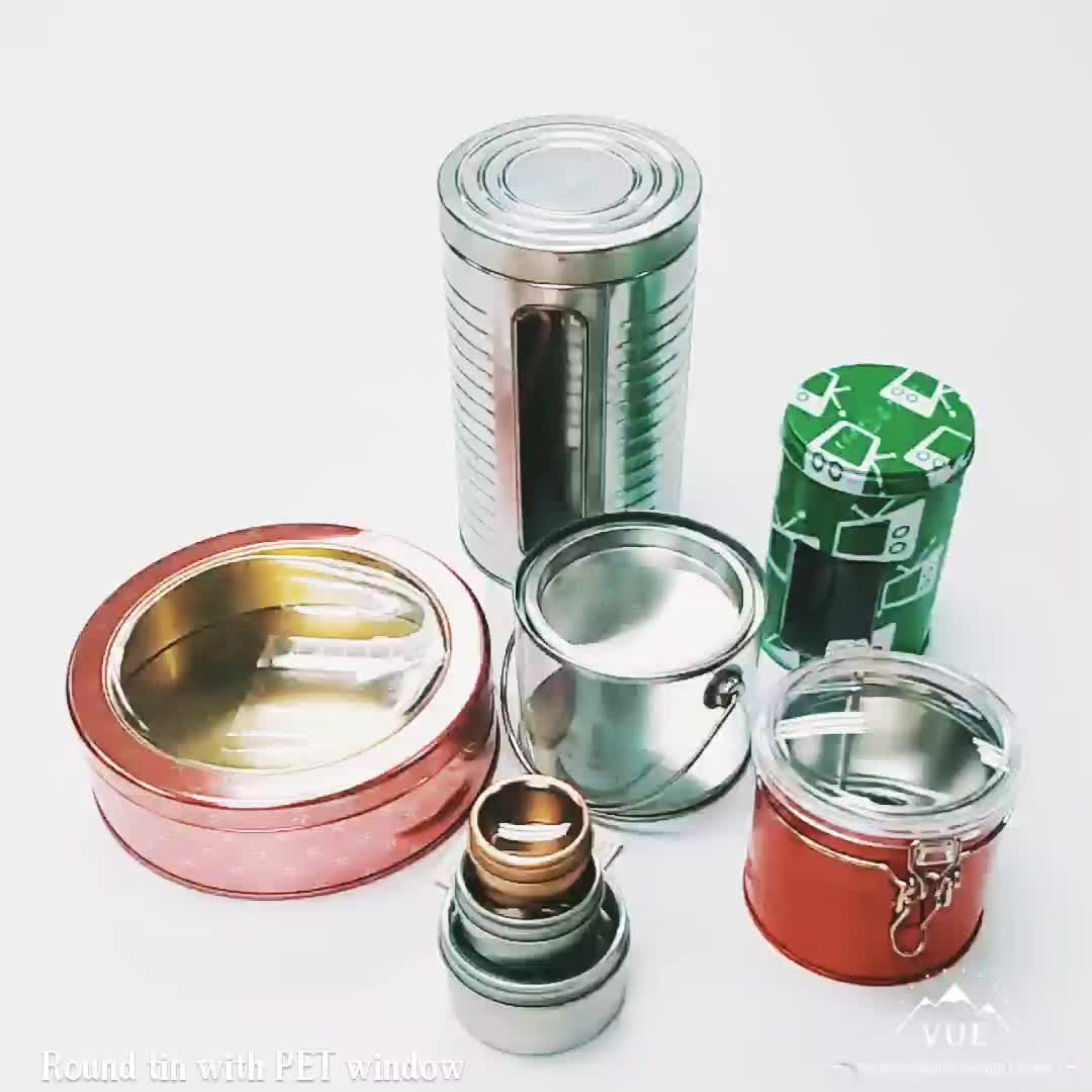 round metal tin box with pvc window