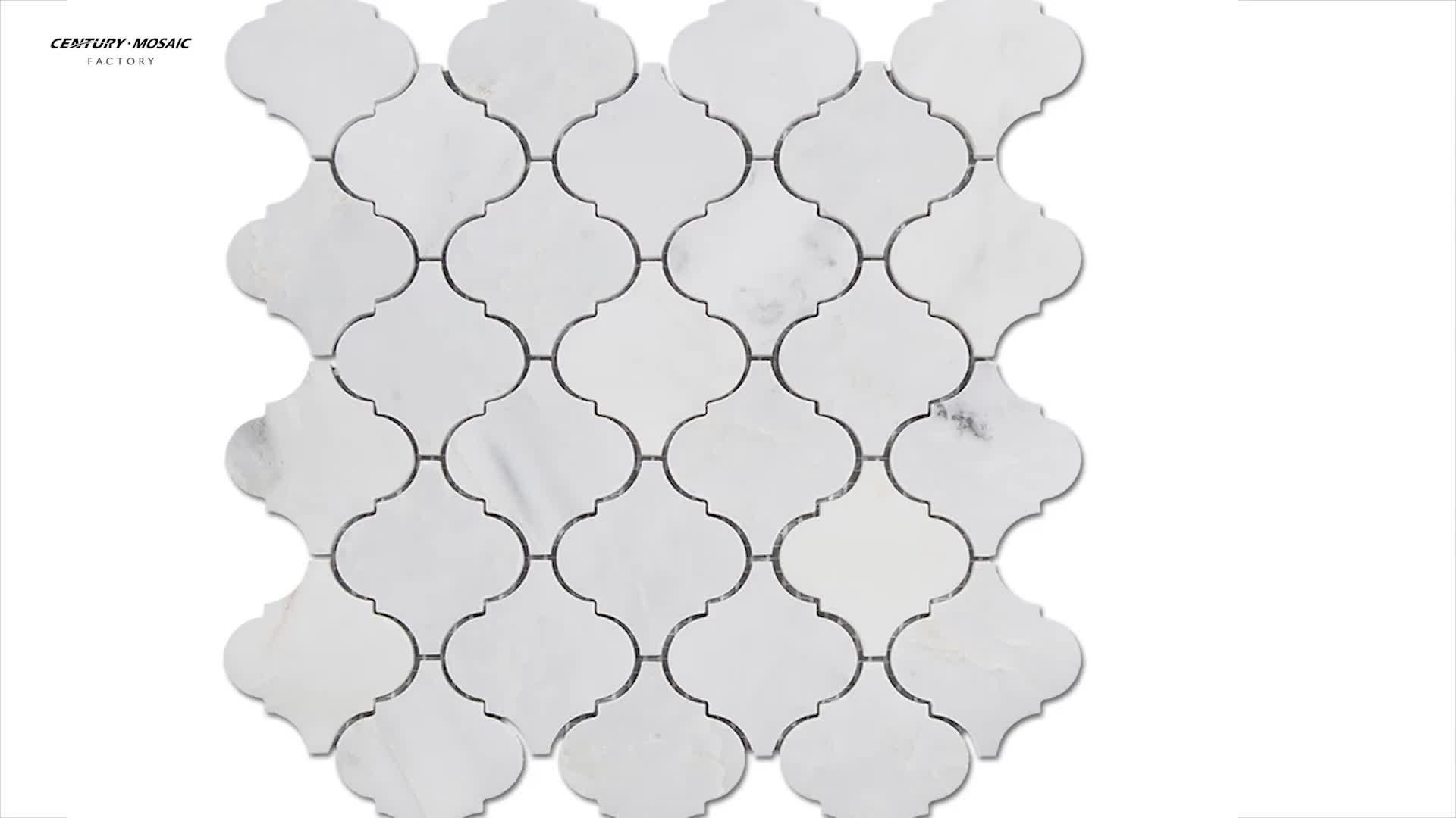 The Oriental White Marble Arabesque Lantern Mosaic Bathroom Kitchen Wall Tile