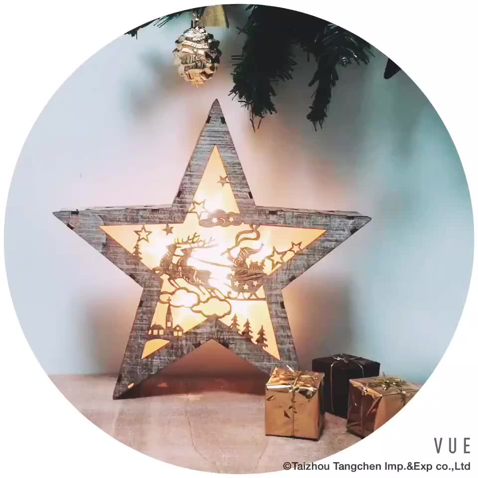 Wooden Led Light Up White Star Battery Operated With Laser Cut