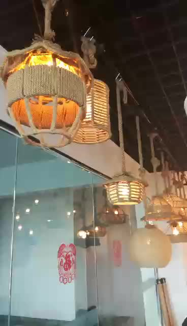 Bamboo Twisted Pendant Lights, Ceiling Mounted Light, Vintage Hanging Light