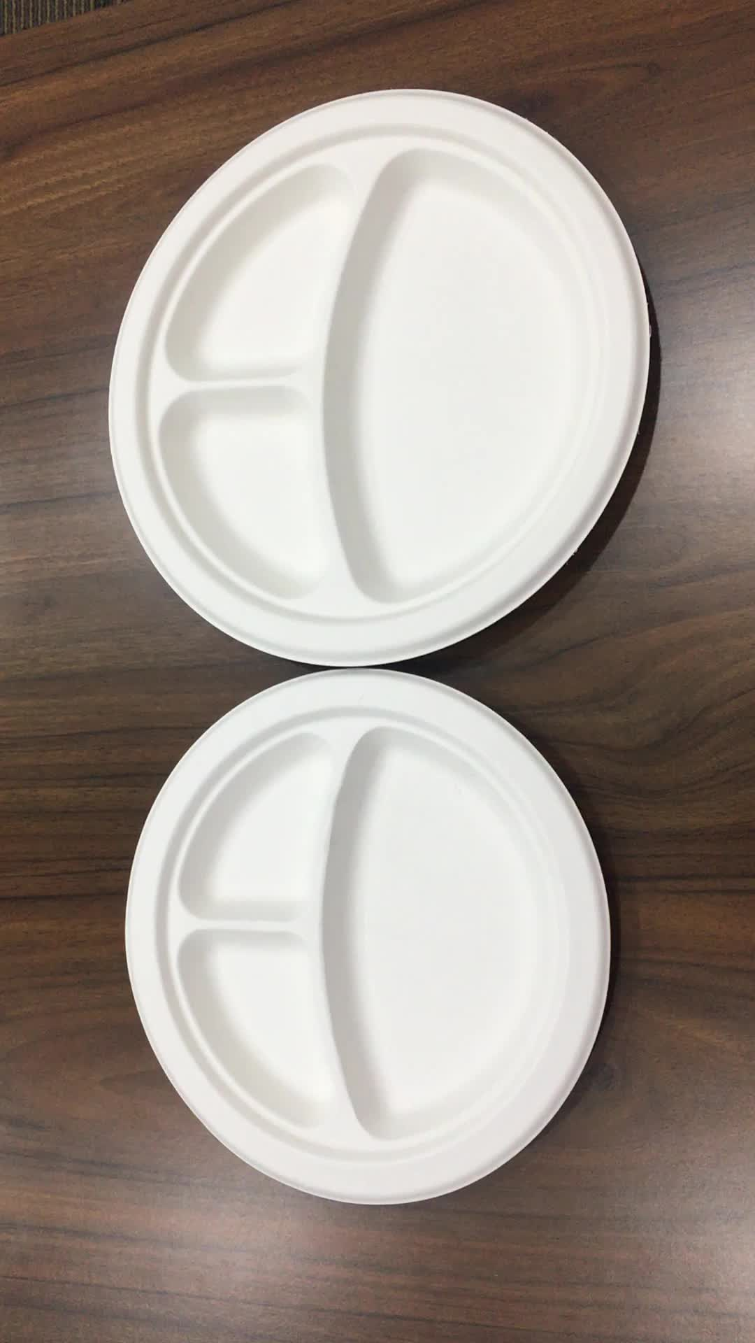Customized molded pulp biodegradable ided dinner plates & Customized Molded Pulp Biodegradable Divided Dinner Plates - Buy ...