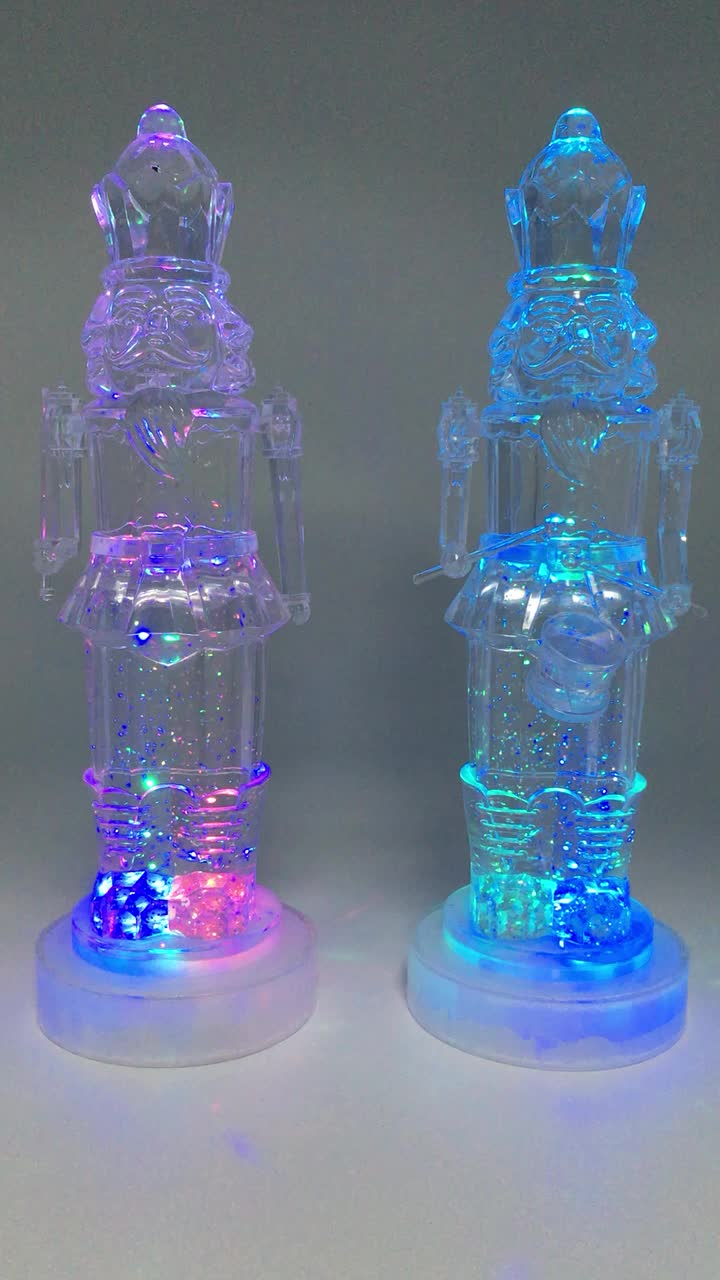 battery operated christmas toy soldier figure led lighted statue christmas decoration acrylic toy nutcracker soldier - Battery Powered Christmas Decorations