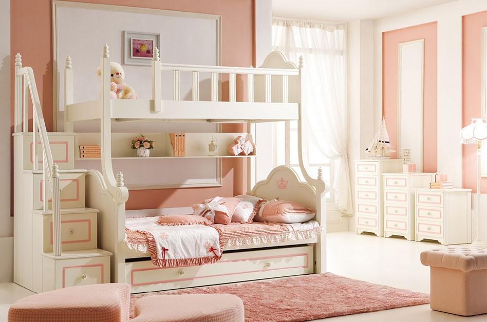 儿童女生双层床图片_【畅销预售】HelloKitty女生儿童床12米高低床