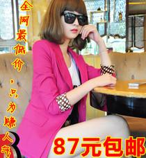 2013春装新款女品质装韩版复古糖果色波点袖收腰修身小西装外套女