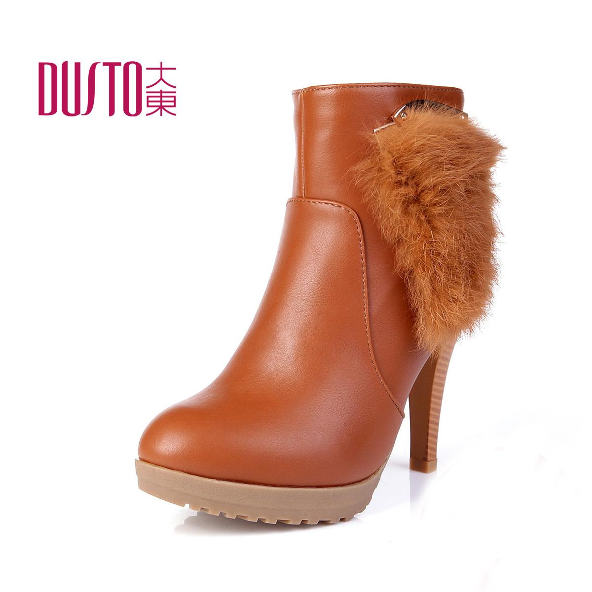 dusto/大东2013新款靴子欧美性感时装靴高跟鞋防水台细跟短靴圆头