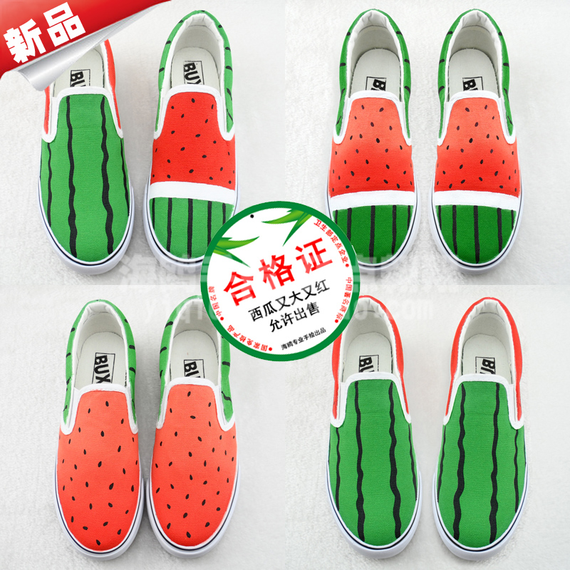 Watermelon hand-painted canvas shoes lazy shoes women shoes men shoes a couple of pedal canvas shoes hand-painted shoes shoes watermelon