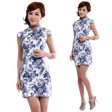 Improved cheongsam fashion summer 2013 new retro blue and white porcelain Chinese daily improved cheongsam cheongsam dress lady