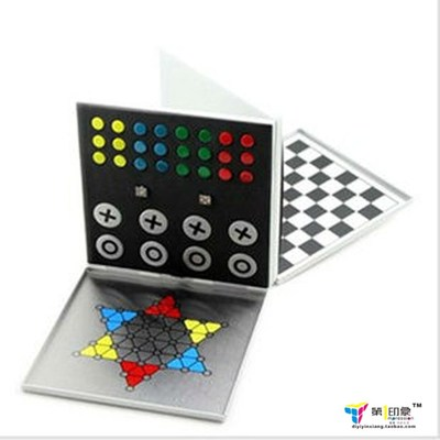 Free shipping high-grade metal mini portable magnetic chess / flight chess / aristocracy flag / Checkers Four gift