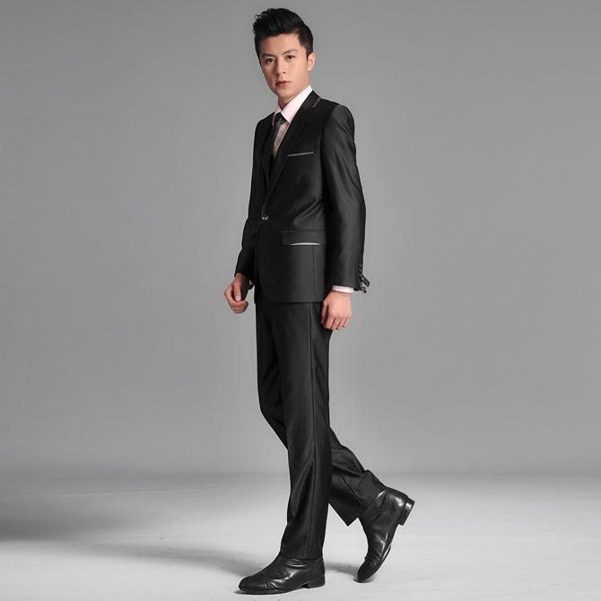 春秋男装韩版西服休闲小西装潮男士修身西服套装结婚伴郎主持礼服