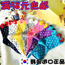 south korea imports purchasing genuine aries dot bow socks female pure the socks. nvwa socks Thumbnail