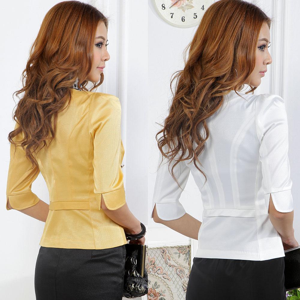 Офисный костюм Оригинальные пружинные Корейский темперамент белых воротничков женской моды профессиональный костюм рукав платье в белый желтый 8823 Укороченный рукав,рукав средней длины А-образная юбка