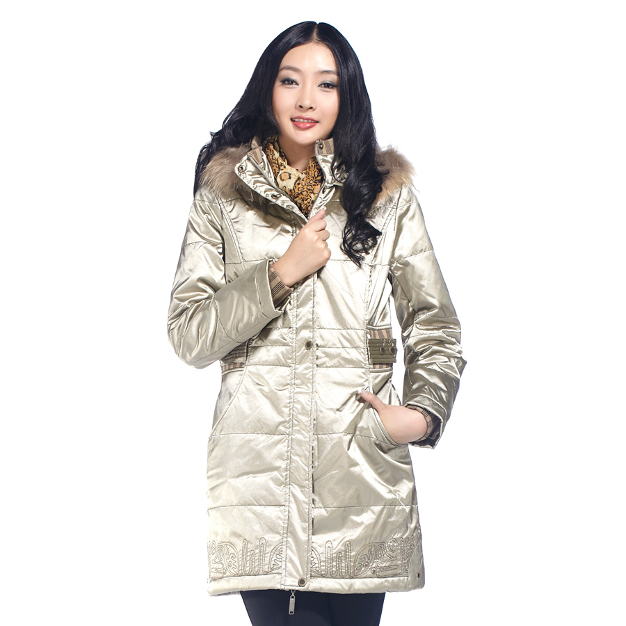 Milan winter solid slim hooded cotton coat raccoon fur collar coat jacket 58,050