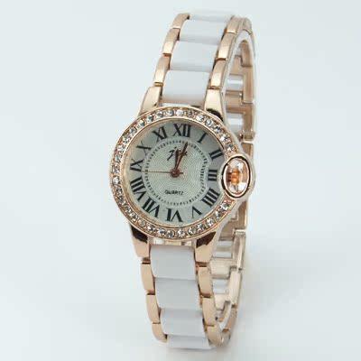 正品复古表水钻 仿陶瓷手链手表白色 韩版潮女学生表罗马数字腕表