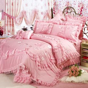 羽戈家纺奢华粉色婚庆床上用品套件蕾丝大红八件套结婚床品新款