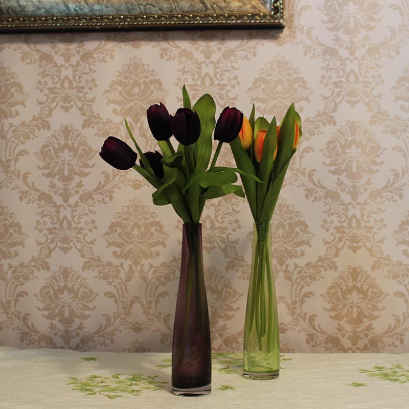 搜荷花艺 仿真花套装 包邮 玉净瓶郁金香小盆景  居家办公摆件花