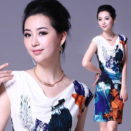 景尚衣阁夏季新款修身显瘦堆堆领巴黎水墨画弹力冰丝印花连衣裙子