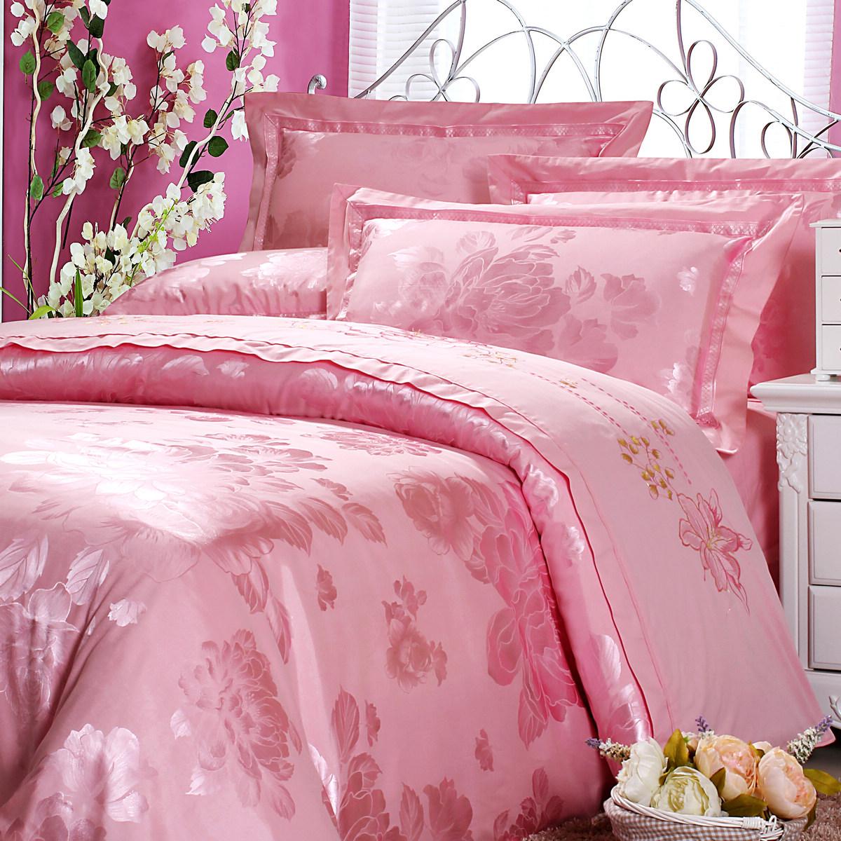 向上家纺 婚庆套件 贡缎大提花婚庆四件套 粉红色 婚庆床品 大红