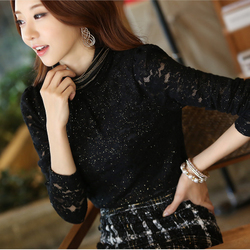 Korean style big size thick high-necked long sleeve lace Slim