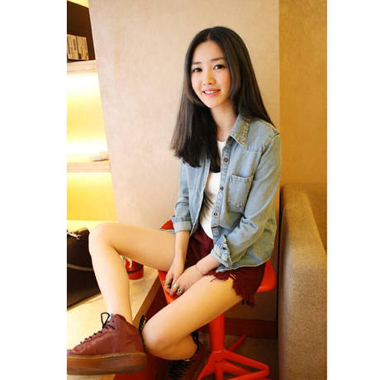 женская рубашка Осень 2013 новой корейской версии тонкий сделал старый женщин Джинсовая рубашка джинсовая выстроились пиджак длинный рукав универсальный Каждодневный Женская одежда