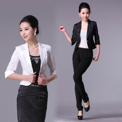 Korean style big size ladies casual slim small suit jacket sleeve