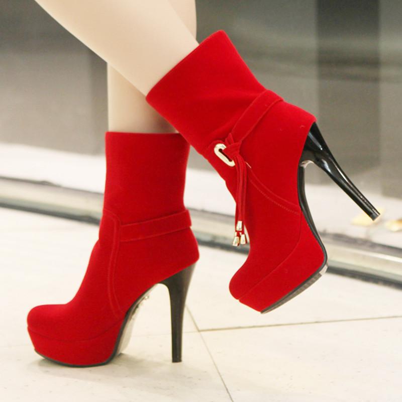 秋冬时尚新款圆头超高跟婚鞋气质OL磨砂短靴流苏细跟冬靴女鞋