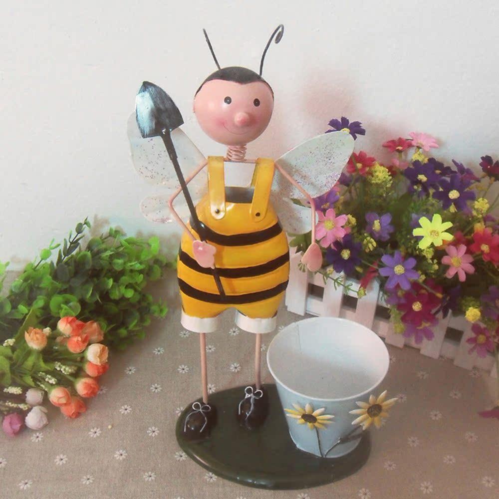 可爱卡通小蜜蜂铁皮娃娃家居装饰摆件 人工手绘玩偶摆件 装饰花盆