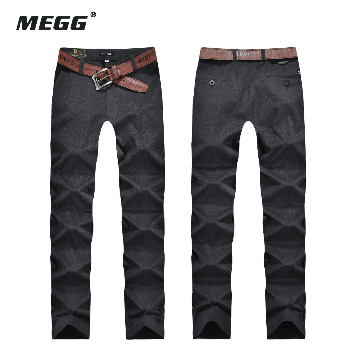 megg Men's khaki pants men's casual pants Slim trousers narrow pants male 2 color optional