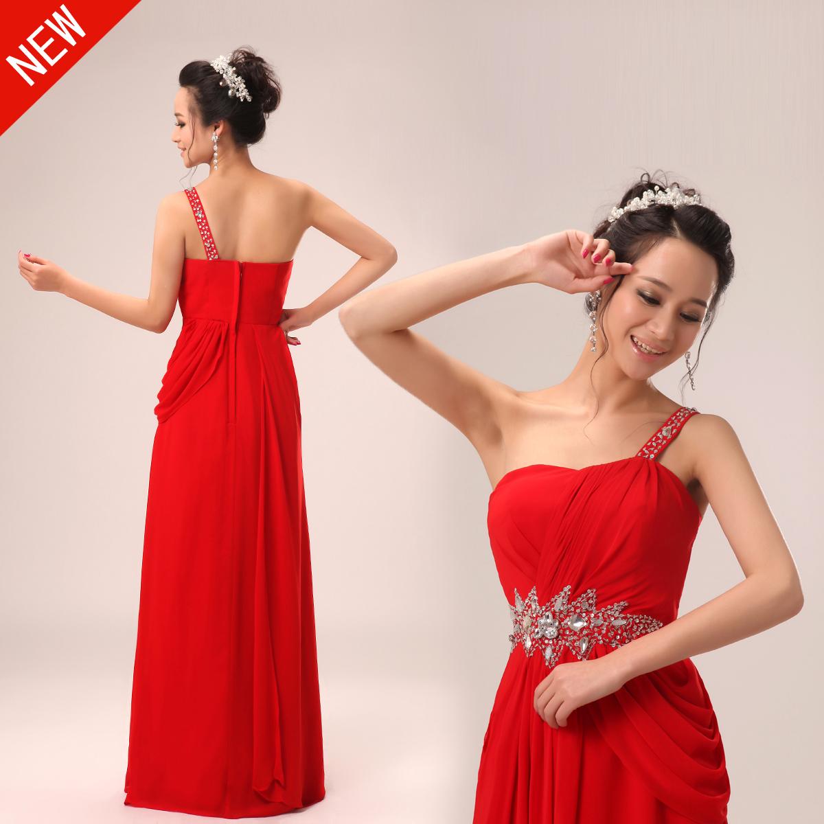 2013新款婚纱礼服 韩版长款结订婚主持人新伴娘单肩红色女连衣裙