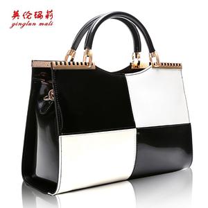 >包包2014新款时尚女包黑白撞色漆皮手提包欧美名媛潮流女士单肩包