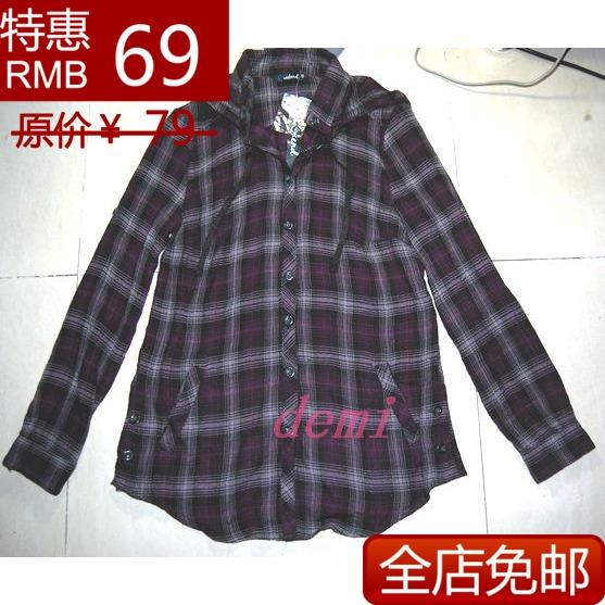 женская рубашка WEEKEND 2013 Городской стиль Длинный рукав В клетку