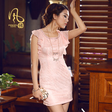 Wind blowing into the 2013 summer new lace cheongsam dress Slim Short Dress improved everyday fashion dress