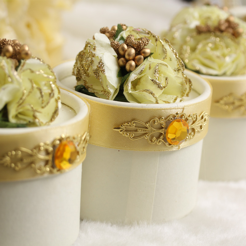 甜蜜百年 经典欧式 丹凤朝阳 香槟金 结婚喜糖包装盒 喜糖盒子