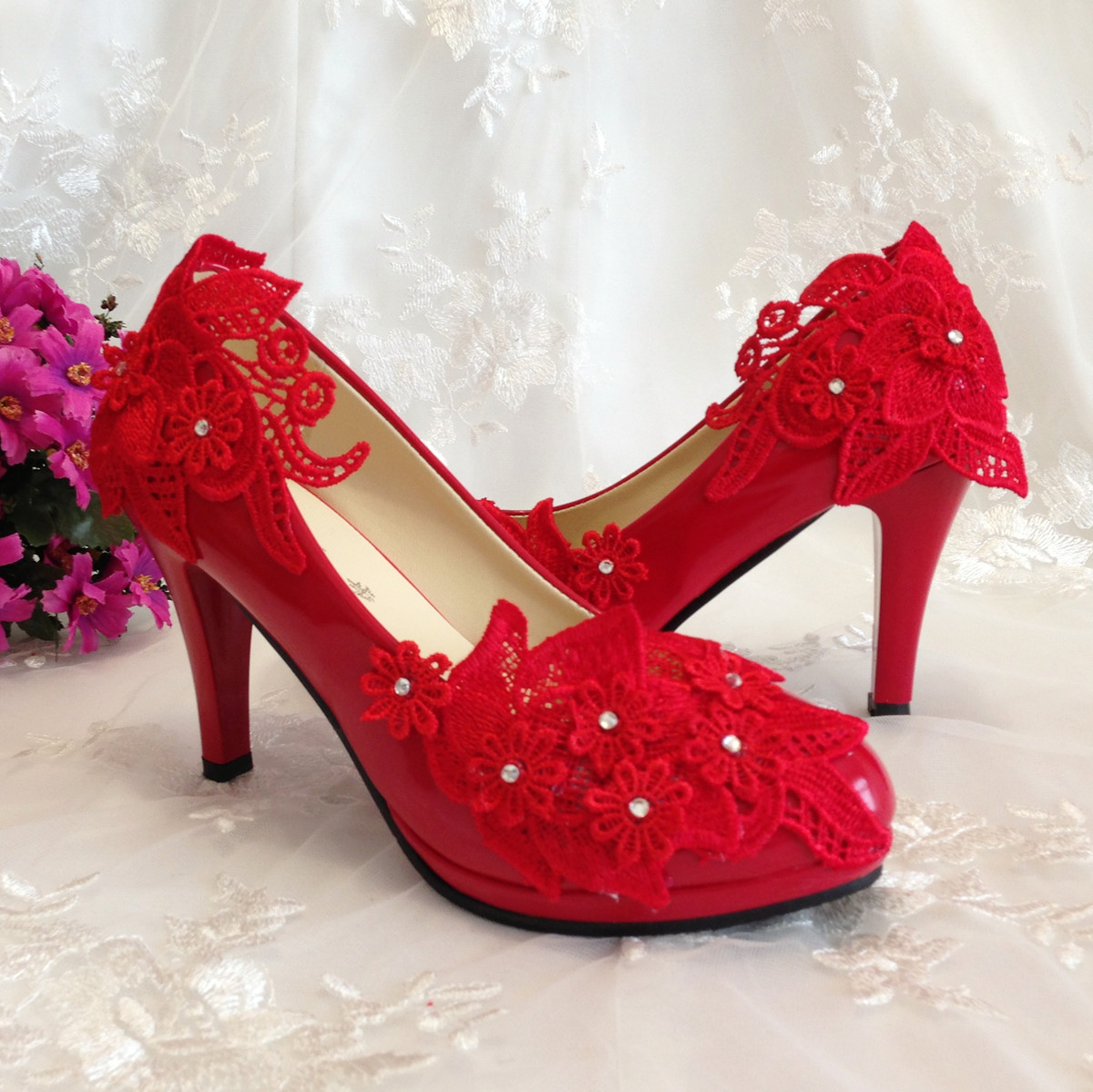 红色婚鞋新娘结婚高跟 结婚季蕾丝水钻婚礼鞋萝莉公主宴会鞋礼服鞋结婚鞋