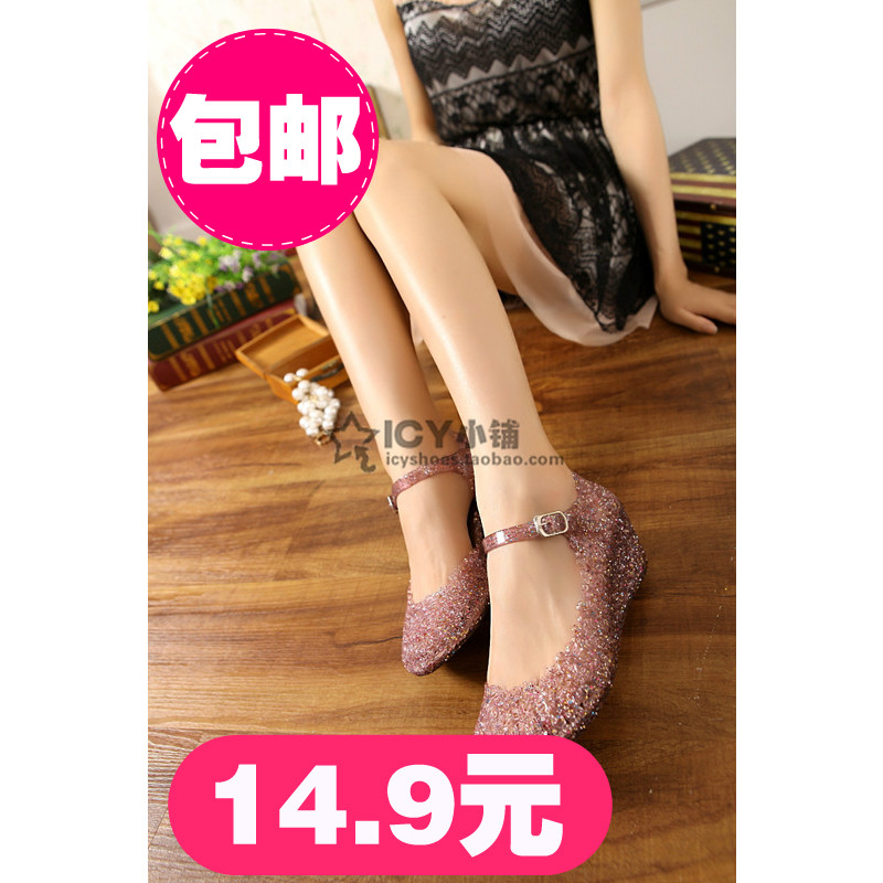 Classic high heel wedges new bird's nest sparkling sequin flower crystal jelly shoes pierced female holes plastic sandals