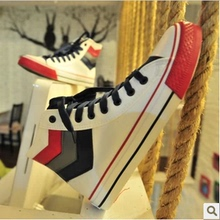 Han edition college in the fall and winter of 2014 trend, Japan and South Korea men lace-up casual shoes high wind boy white canvas shoes