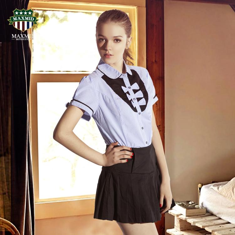 женская рубашка MAX MID my12004 MAXMID 2013 Tw Милый Короткий рукав В клетку Бантик бабочкой