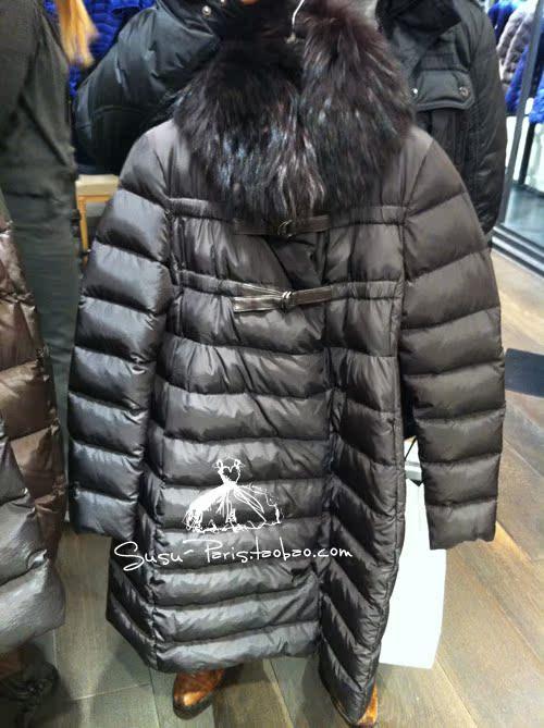 Женский пуховик Лемминг Фокс меха воротник длинный куртку MONCLER Париж прямой почтовой рассылки